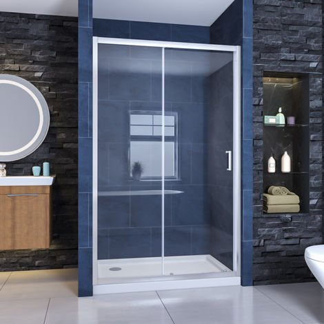 ELEGANT 1100x760mm Sliding Shower Door Reversible Bathroom Shower Enclosure Cubicle with Tray and Waste