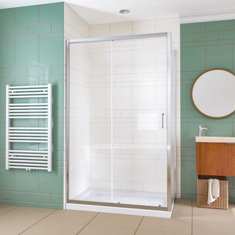 ELEGANT 1100x800mm Bathroom Sliding Shower Enclosure Cubicle 6mm Glass Screen Baths Reversible Shower Door with Side Panel