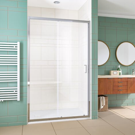 ELEGANT 1100x800mm Sliding Shower Door 6mm Safety Tempered Glass Reversible Bathroom Shower Enclosure Cubicle with Tray and Waste