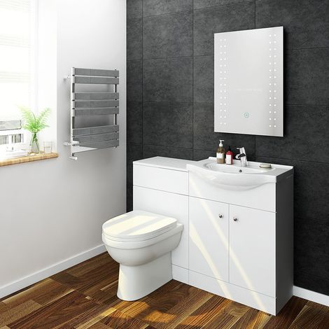 ELEGANT 1155mm High Gloss White Vanity Unit with Ceramic Basin + Back to Wall Toilet with Concealed Cistern, Bathroom Vanity Sink Unit Furniture Storage,