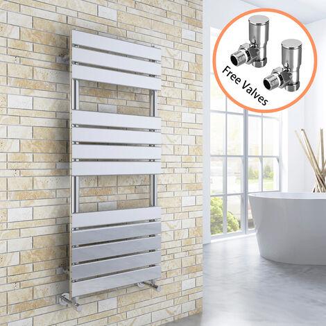 ELEGANT 1200 x 500 Chrome Flat Panel Heated Towel Rail Bathroom Radiator + Angled Radiator Valves
