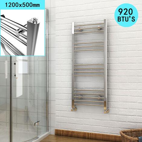 ELEGANT 1200 x 500mm Modern Straight Heated Towel Rail Designer Bathroom Radiator- Chrome + Angled Radiator Valves
