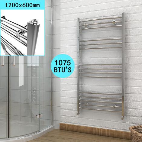 ELEGANT 1200 x 600 Chrome Curved Heated Towel Rail Bathroom Radiator