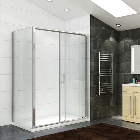 ELEGANT 1200 x 700 mm Modern Sliding Shower Cubicle Door Bathroom Shower Enclosure with Side Panel