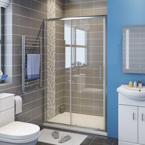 ELEGANT 1200 x 760 mm Modern Sliding Shower Cubicle Door Bathroom Shower Enclosure with Tray