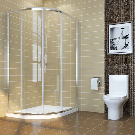 ELEGANT 1200 x 800 mm Left Quadrant Shower Enclosure 6mm Sliding Glass Cubicle Door with Tray + Waste