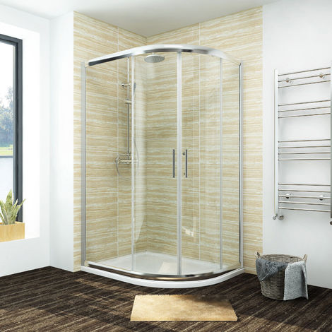 ELEGANT 1200 x 800 mm offset Quadrant Shower Enclosure Tempered Sliding Glass Cubicle Door