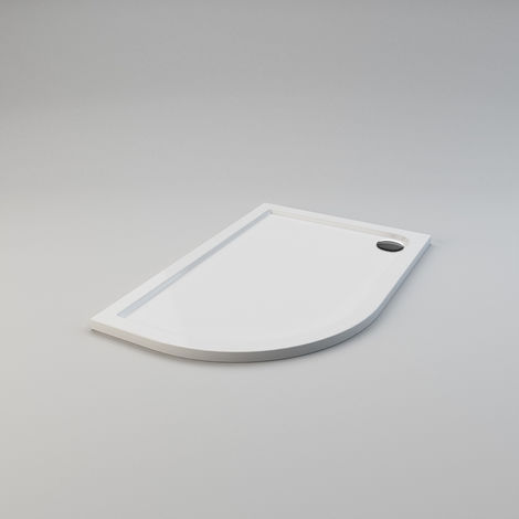 ELEGANT 1200 x 800 x 40 mm Offset Quadrant Stone Tray LEFT for Shower Enclosure Cubicle + Waste Trap