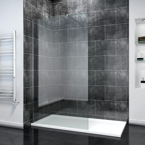 ELEGANT 1200mm Frameless Wet Room Shower Screen Panel 8mm Easy Clean Glass Walk in Shower Enclosure with 1600x800mm Tray and Support Bar