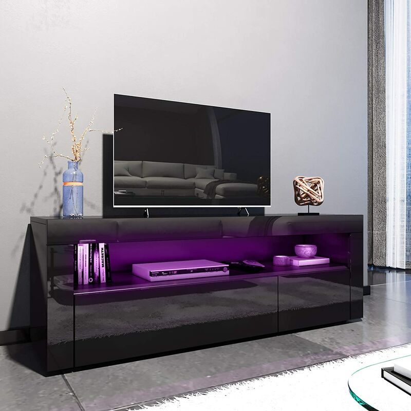 ELEGANT 1200mm Modern Black Gloss TV Unit Stand with LED Ambient Light for  Living Room and Bedroom with Storage Furniture for 32 40 43 50 52 inch 4k  ...