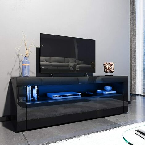 ELEGANT 1200mm Modern Black Gloss TV Unit Stand with LED Ambient Light for Living Room and Bedroom with Storage Furniture for 32 40 43 50 52 inch 4k TV