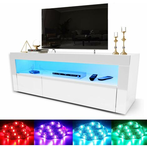 "ELEGANT 1200mm Modern High gloss TV Stand Cabinet with Ambient Light for 22""-47"" Flat Screen 4k TVs/ Spacious Storage LED Light TV Cabinet with Shelves and Drawers for Living Room Bedroom Furniture, White"