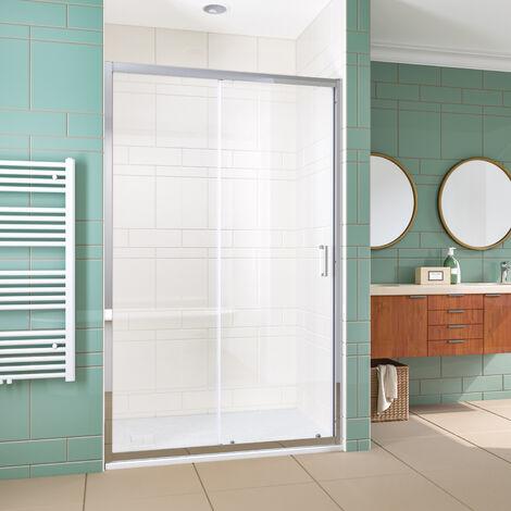 ELEGANT 1200mm Sliding Shower Enclosure 6mm Toughened Glass Bathroom Smooth Screen Panel Reversible Shower Cubicle
