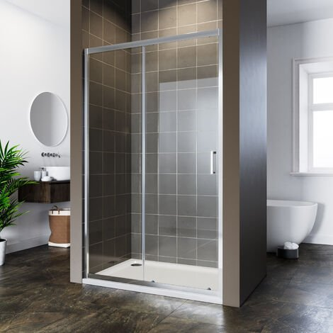 ELEGANT 1200x800mm Sliding Shower Door 6mm Safety Tempered Glass Reversible Bathroom Shower Enclosure Cubicle with Tray