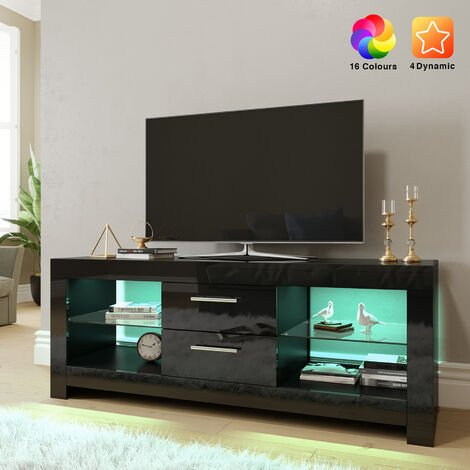 ELEGANT 1300mm Modern Black Gloss TV Unit Stand with LED Ambient Light for Living Room and Bedroom with Storage Furniture for 32 40 43 50 52 inch 4k TV