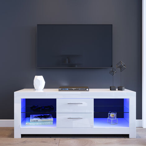 "ELEGANT 1300mm Modern High gloss TV Stand Cabinet with LED Light for 22""-52"" Flat Screen 4k TVs/Living Room Bedroom Furniture Television Unit TV Cabinet with Shelves and Drawers for Media Storage,White"