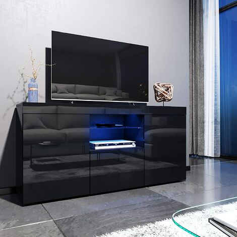 ELEGANT 1350mm Modern Black Gloss TV Unit Stand with LED ...