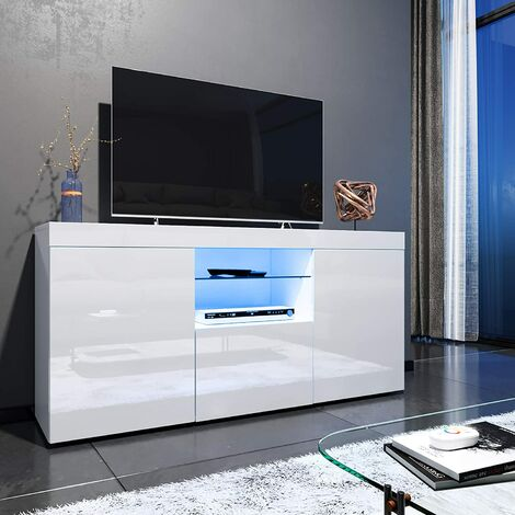 """ELEGANT 1350mm Modern High gloss TV Stand Cabinet with Ambient Light for 22""""-58"""" Flat Screen 4k TVs/ Spacious Storage LED Light TV Cabinet with Shelves and Drawers for Living Room Bedroom Furniture, White"""