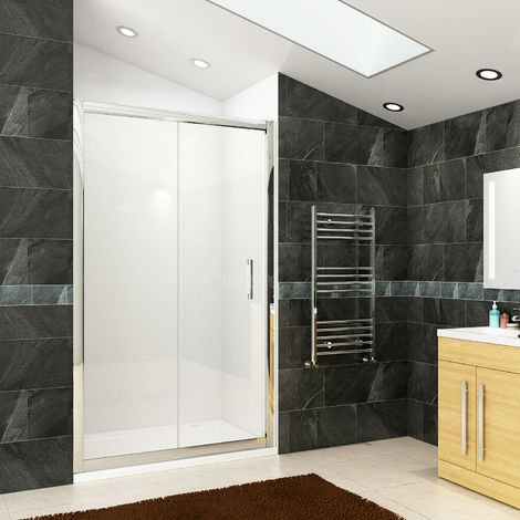 ELEGANT 1400mm Sliding Shower Door Modern Bathroom 8mm Easy Clean Glass Shower Enclosure Cubicle Door