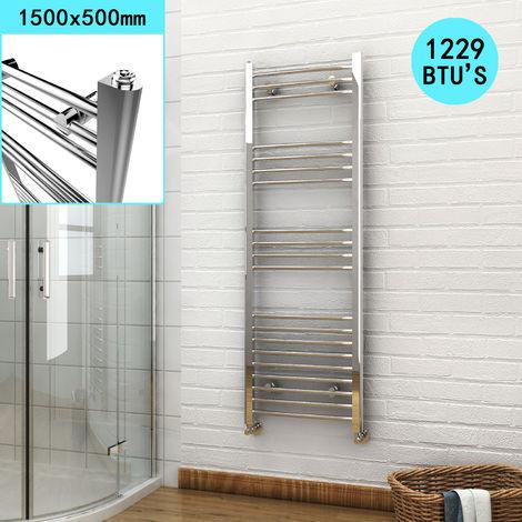 ELEGANT 1500 x 500 mm Chrome Curved Heated Bathroom Towel Rail Radiator
