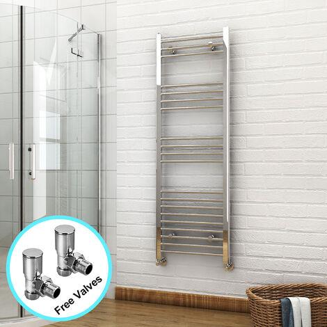 ELEGANT 1500 x 500mm Chrome Heated Towel Rail Designer Bathroom Radiator + Angled Radiator Valves