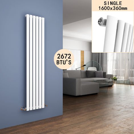 ELEGANT 1600 x 360mm Vertical Column Radiator White Oval Single Panel Designer Radiator Heater