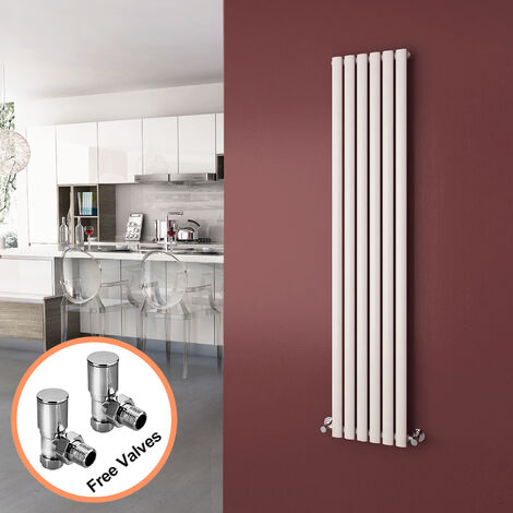 ELEGANT 1600 x 360mm Vertical Column Radiator White Oval Single Panel Designer Radiator Heater + Angled Radiator Valves