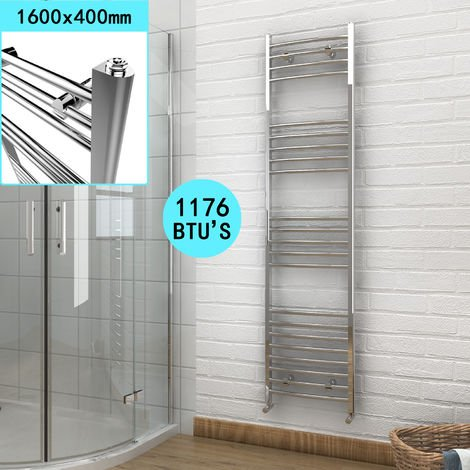 ELEGANT 1600 x 400 Chrome Heated Towel Rail Bathroom Radiator Curved