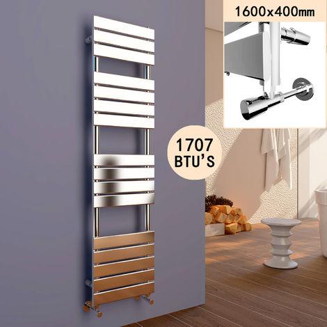ELEGANT 1600 x 400 Heated Towel Rail Bathroom Radiator Chrome Flat Panel Towel Radiator