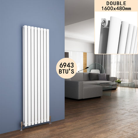 ELEGANT 1600 x 480mm Vertical Column Radiator White Oval Double Panel Designer Radiator Heater
