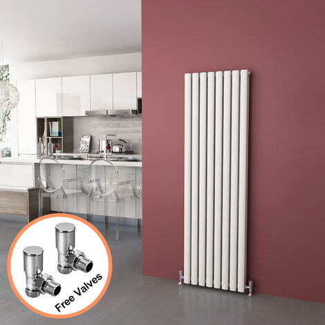 ELEGANT 1600 x 480mm Vertical Column Radiator White Oval Double Panel Designer Radiator Heater + Angled Radiator Valves