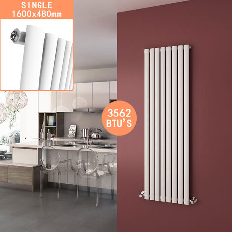 ELEGANT 1600 x 480mm Vertical Column Radiator White Oval Single Panel Designer Radiator Heater