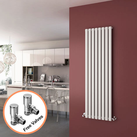 ELEGANT 1600 x 480mm Vertical Column Radiator White Oval Single Panel Designer Radiator Heater + Angled Radiator Valves