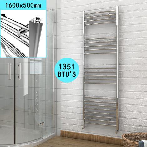 ELEGANT 1600 x 500 Chrome Heated Towel Rail Radiator Curved