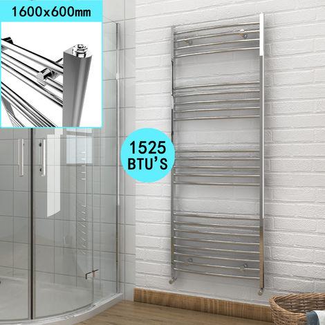ELEGANT 1600 x 600 Curved Chrome Towel Rail Bathroom Heated Designer Radiator