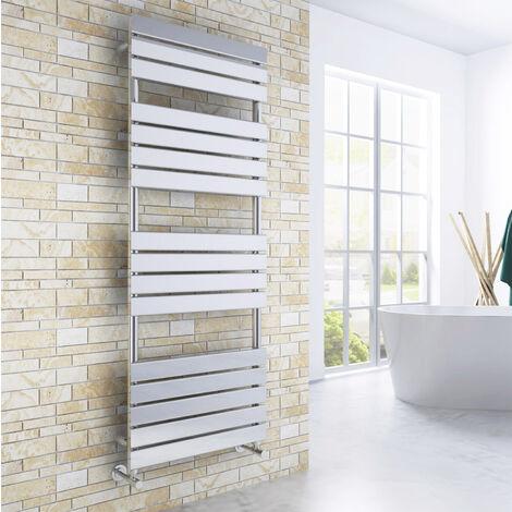 ELEGANT 1600 x 600mm Modern Chrome Heated Towel Rail Bathroom Designer Radiator + Angled Radiator Valves