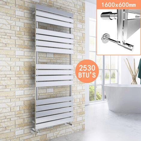 ELEGANT 1600 x 600mm Modern Chrome Heated Towel Rail Bathroom Designer Radiator + Chrome Thermostatic Radiator Valves