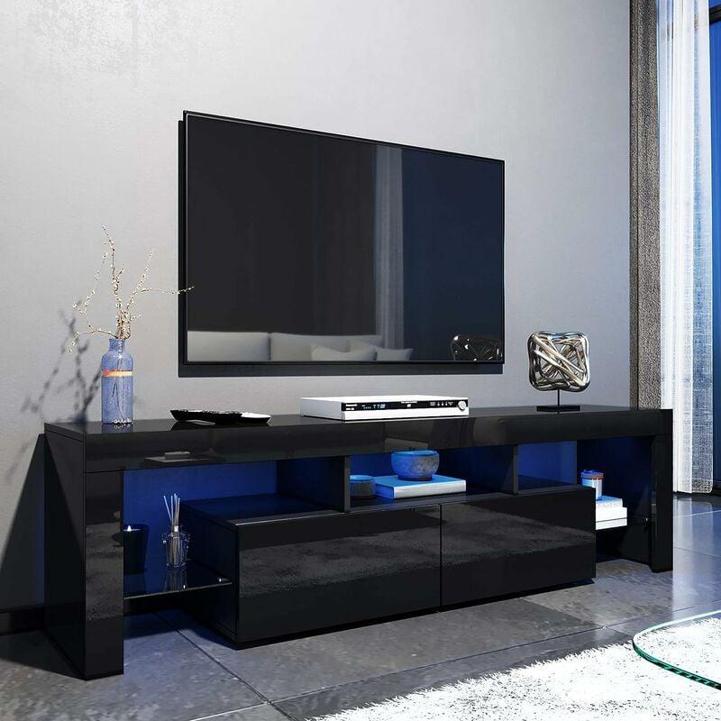 ELEGANT 1600mm Modern Black Gloss TV Unit Stand with LED ...