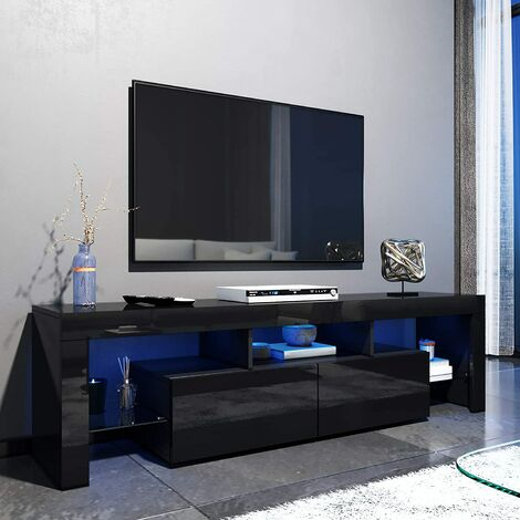 ELEGANT 1600mm Modern Black Gloss TV Unit Stand with LED Ambient Light for 32 40 43 50 52 55 60 inch 4k TV, for Living Room and Bedroom with Storage Furniture