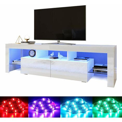 "ELEGANT 1600mm Modern High gloss TV Stand Cabinet with Ambient Light for 22""-65"" Flat Screen 4k TVs/ Media Storage LED Light TV Cabinet with Shelves and Drawers for Living Room Bedroom Furniture, White"
