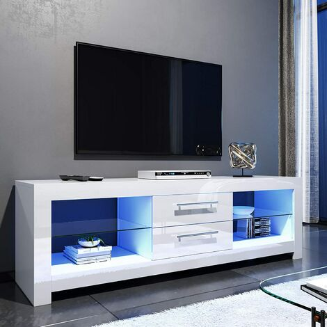 """main image of """"ELEGANT 1600mm Modern High gloss TV Stand Cabinet with LED Light for 22""""-65"""" Flat Screen 4k TVs/Living Room Bedroom Furniture Television Unit TV Cabinet with Shelves and Drawers for Media Storage,White"""""""