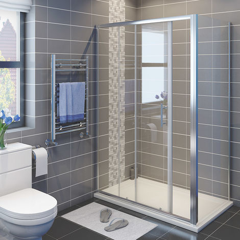 ELEGANT 1700 x 900 mm Sliding Shower Enclosure 6mm Glass Reversible Cubicle Door Screen Panel with Shower Tray and Waste + Side Panel