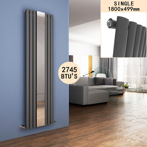 ELEGANT 1800 x 500 mm Vertical Mirror Radiator Designer Oval Column Panel Central Heating Radiators (Anthracite)