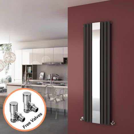 ELEGANT 1800 x 500 mm Vertical Mirror Radiator Designer Oval Column Panel Central Heating Radiators (Anthracite) + Angled Radiator Valves