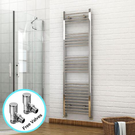 ELEGANT 1800 x 500mm Chrome Heated Towel Rail Designer Bathroom Radiator + Angled Radiator Valves