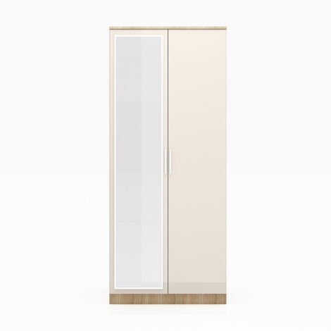 ELEGANT 2 Doors Wardrobe with Mirror, Soft Close Hinge Mirrored Wardrobe Cabinet, High Gloss Bedroom Furniture Set with Hanging Rod and Storage Shelves, Cream/oak