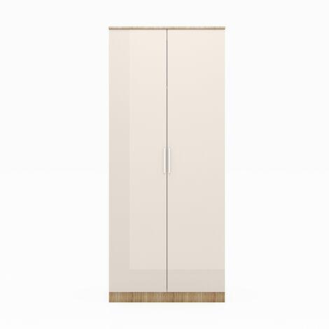 ELEGANT 2 Doors Wardrobe with Soft Close Hinge Cream/oak High Gloss Bedroom Furniture