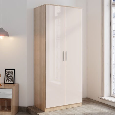ELEGANT 2 Doors Wardrobe with Soft Close Hinge, High Gloss Bedroom Furniture Sets with Hanging Rod and Storage Shelves, Cream/oak