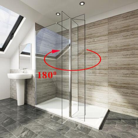 Elegant 300x1850x6mm Deflector/ Return Panel Glass Shower Screen 180 Degress Swivel