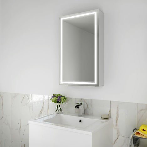 ELEGANT 430 x 690mm Illuminated LED Bathroom Sliding Mirror Cabinet Stainless Steel Frame Wall Storage Mirror with Lights with Sensor Switch
